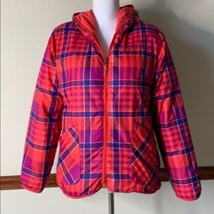 Columbia puffer reversible plaid coral jacket 16